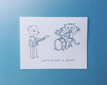 let's start a band - a2 greeting card