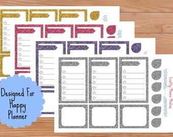 Glitter Boxes - Planner Stickers - Check List - Sticker - Happy Planner - Erin Condren - Planner