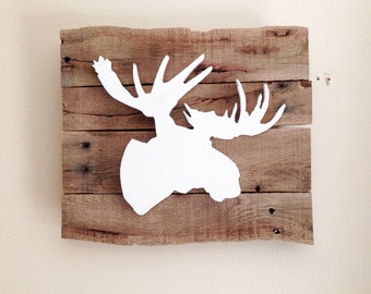 Moose Head 3D Silhouette Sign from Reclaimed Wood
