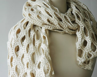 Summer cream shawl / soft cotton wrap / cream lacy scarf / lightweight shawl