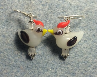 Milky white with red crest lampwork bird bead earrings adorned with clear Czech glass beads.