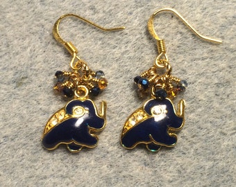 Dark blue enamel and rhinestone elephant charm earrings adorned with tiny dangling dark blue and amber Chinese crystal beads.