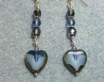 Montana blue Czech glass heart bead dangle earrings adorned with montana blue Czech glass beads.