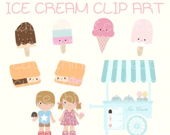 Kawaii Ice Cream Stand Clip Art Digital Scrapbook Planner Sticker Instant Download Printable Invitation Card Birthday PNG