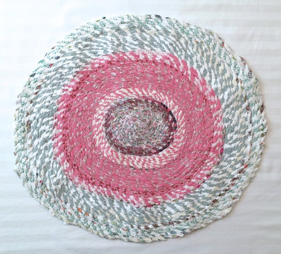 Oval Rag Rug Cotton Scrap Fabric Twine Pink And By