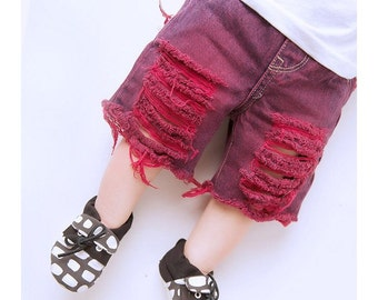 Brett/Bretta Shorts - Baby/toddler boy OR girl hand-dyed/distressed denim cutoffs