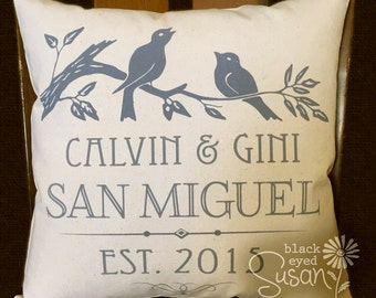 "Lovebirds Wedding or Anniversary Print Pillow Cover of Natural Canvas or Lined Burlap | 12"" x 12"", 16"" x 16"", or 20"" x 20"""