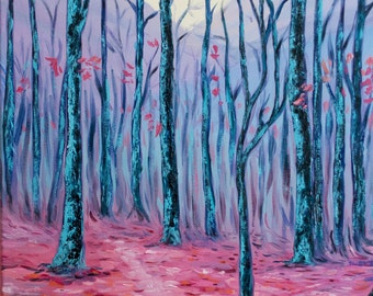 "16X20"" Original Modern Abstract Oil Painting on Stretched Canvas ""Blue Forest"" FREE Shipping within USA"
