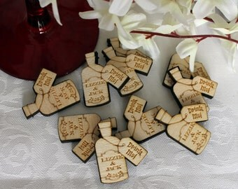 Drink Me! Bottle Alice in Wonderland themed PERSONALISED Wooden Wedding Table Confetti