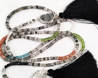 Multi-Gemstone Druzy Open Lariat, Open Black/White Druzy Lariat Tassel Necklace, Druzy Open Lariat, Rutilated Quartz Tassel Lariat, OOAK