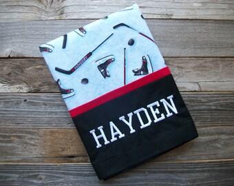 """Personalized Hockey Pillowcase, Standard Size, 20"""" x 30"""", 100% Cotton"""