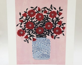 Red Flowers Art Print, 30x40cm