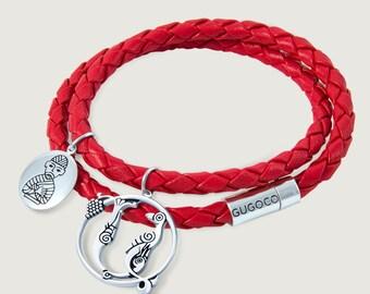 Double Wrap Leather Bracelet+ Silver Letter Charm