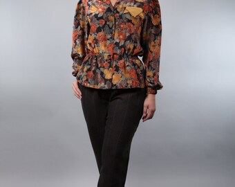 Vintage blouse with floral print - autumn flower