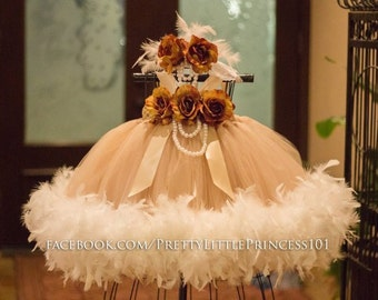Victorian Flower Girl dress, Vintage Feather dress, Feathers Pageant dress, Baptism Gown