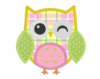 Cute Owl Applique Embroidery Design, Baby Owl Machine Embroidery Design, Applique Owl, 3 Sizes, Instant Download, No: JG00081-5