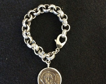 Sterling link bracelet with Roman looking coin...