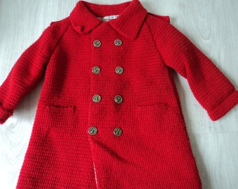 REDUCED - Stunning French vintage hand crocheted girl's lined red winter coat (02963)