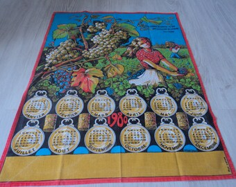 REDUCED - French vintage cotton printed 1980 calendar tea towel / torchon  (03103)
