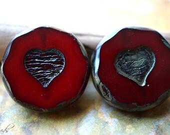 Rustic Heart, Heart Beads, Czech Beads, N1915
