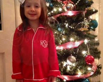 Girl's Monogrammed Pajamas - Monogrmmed Valentine's Day - Girl's Button Down Pajamas -  Monogrammed Christmas Pajamas -  Girl's Lounge Wear