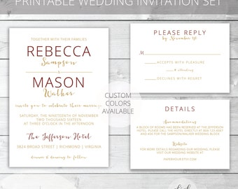 Red(Marsala)/Gold Printable Wedding Invitation Set | Modern | Rebecca Collection | RSVP & Details/Enclosure Card | Custom Colors Available