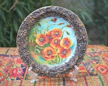 Original Decorative Plate Bouquet of poppies Fine Art ceramics Designer plate Stylish Handmade Home decor OOAK painting on a plate Рoppies