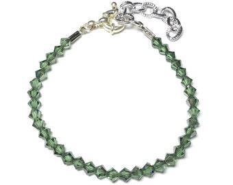 Bracelet with Swarovski bicones verdi