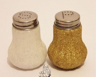 Glitter Salt & Pepper Shakers Set White and Gold