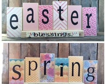 Decorative Wood Block Sign - Easter/Spring Reversible