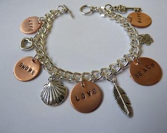 Hand Stamped Charm Bracelet