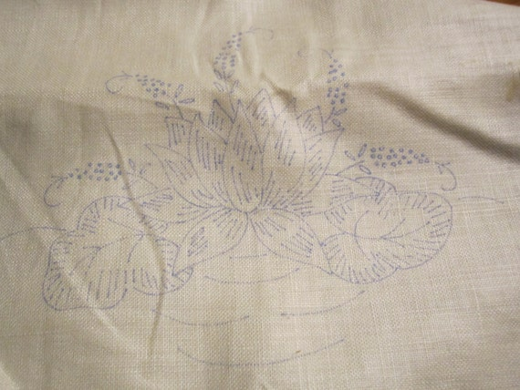 Vintage unfinished stamped embroidery work pair of