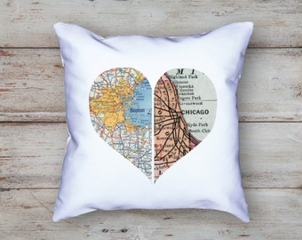 Custom Map Heart Pillow | Personalized Pillow | State to State | Custom Pillow | Unique Wedding Gift | Long Distance Gift | 2 Sided Map