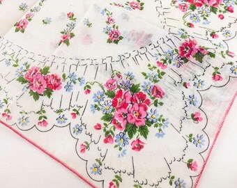 Vintage Handkerchief Pink Handkerchief Flower Handkerchief Floral 1950 Mid Century Retro Accessory Ladies Women Hankie