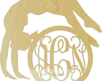 Gymnast / Dancer with Circle Border Connected Monogram Style 2 Wood Cutout Sign, Door/Wall Decor