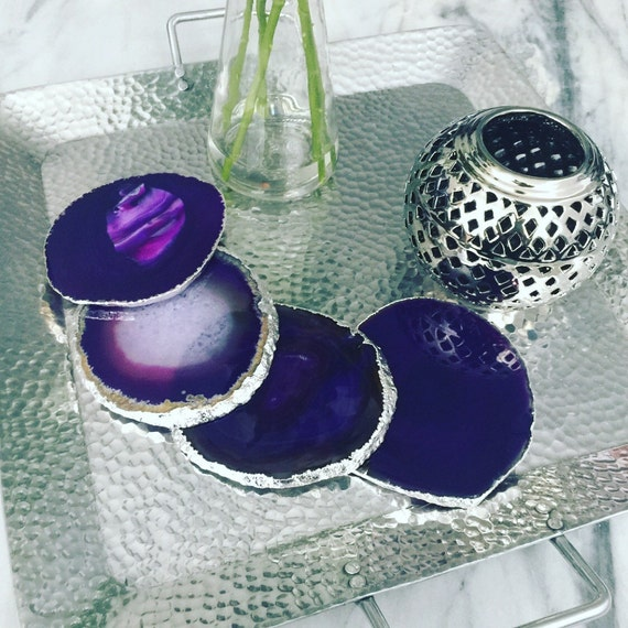 Silver Plated Purple Coasters