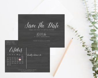 Rustic save the date printable, Save the date postcard, Save the date calendar, Chalkboard Save the Date, Printable Chalkboard Wedding
