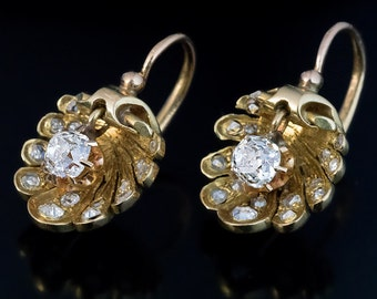 Antique Shell-Shaped Diamond Earrings