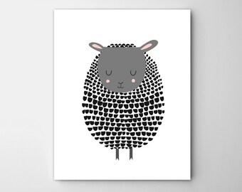 Black Sheep Print, Black Sheep Art, Lamb Print, Lamb Art, Sheep Nursery Art, Sheep Kids Art, Barnyard Art, Sheep Illustration