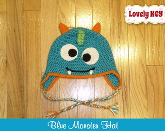 Crochet Blue Monster Hat with Ear Flaps, Boy Girl Baby Newborn Funny Hat, Photo Prop