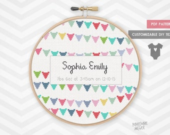 BABY BUNTING ANNOUNCEMENT counted cross stitch pattern, girl shower sampler modern nursery decor, easy personalized birth record xstitch pdf