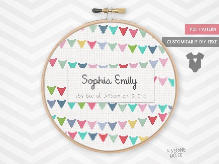 Baby cross stitch – Birth Announcement Cross Stitch