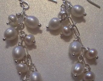 Wedding Wonderful!  A Symphony of White Freshwater Pearls and Sterling Silver Drop Earrings...What A Perfect Pair!