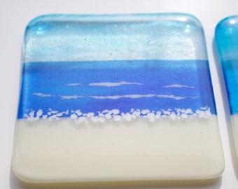 Fused Glass Coastal Coaster / Sky, Sea, Sand / Where the sky meets the sea / Waves seaside beach coast scene