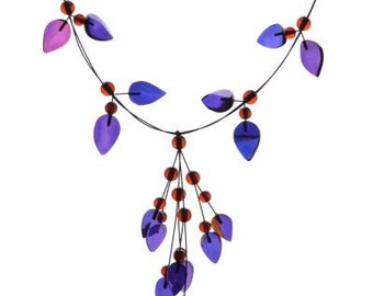 Amber Necklace Night Magic Blue Caribbean Amber Flower Style Necklace