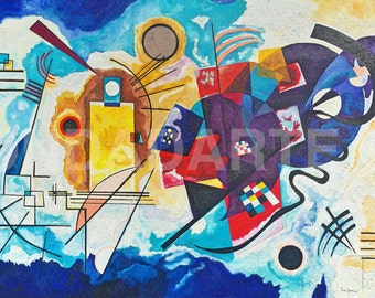 Framework, Modern painting, geometric, contemporary, copy of kandinsky, Lucid Dream, Giallo, Rosso, Blu; Yelow, Red, Blue; Gelb, Rot, Blau