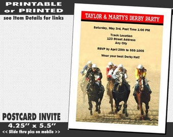 Kentucky Derby The Race Is On Party Invitation, Printable with Printed Option, Horse Racing Party, Equestrian Theme