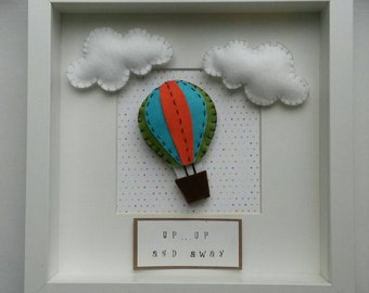 Up up and away hot air balloon frame - new baby/birthday gift