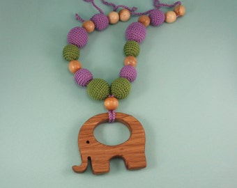 Nursing Necklace Elephant,, toddler necklace, teething necklace, babyshower necklace, breast feeding, breastfeeding cover,chew bead necklace