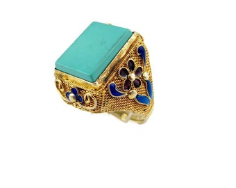 Antique Chinese gold gilt silver filigree enamel Turquoise ring